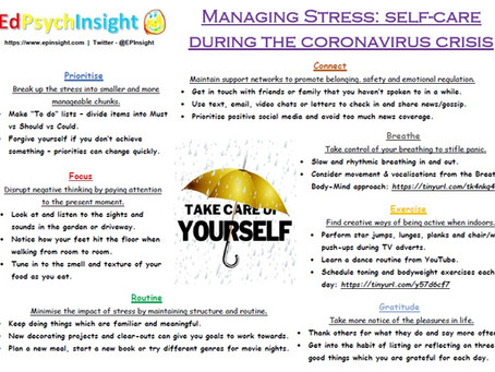 Managing Stress: Self-Care during the Coronavirus Crisis