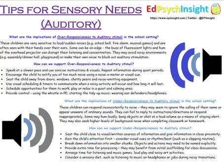 Tips for Sensory Needs - Auditory