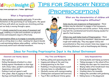 Tips for Sensory Needs - Proprioception