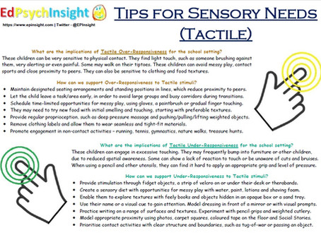 Tips for Sensory Needs - Tactile