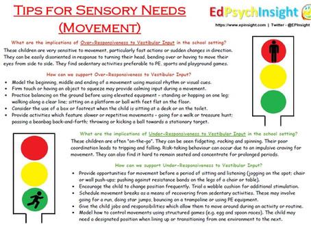Tips for Sensory Needs - Vestibular
