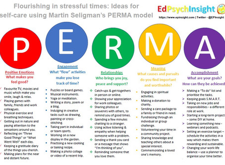 Flourishing in stressful times: Ideas for self-care using PERMA