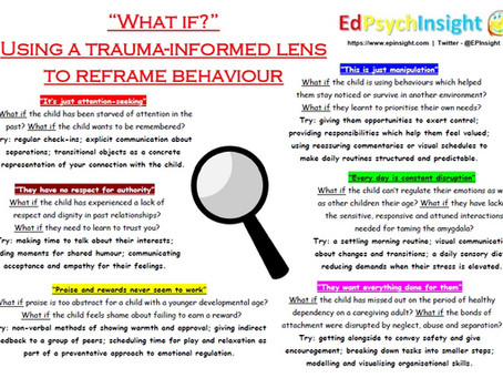 """""""What if?"""" - Using a trauma-informed lens to reframe behaviour in the classroom."""