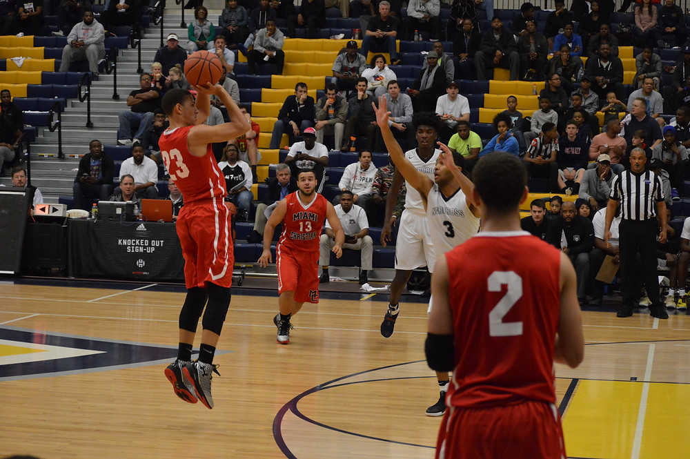 Miami Christian's #23 Jeffrey Hernandez pulls up from deep