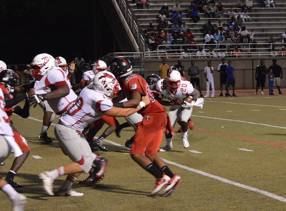 Woodland's #20 Chris Charles on the carry