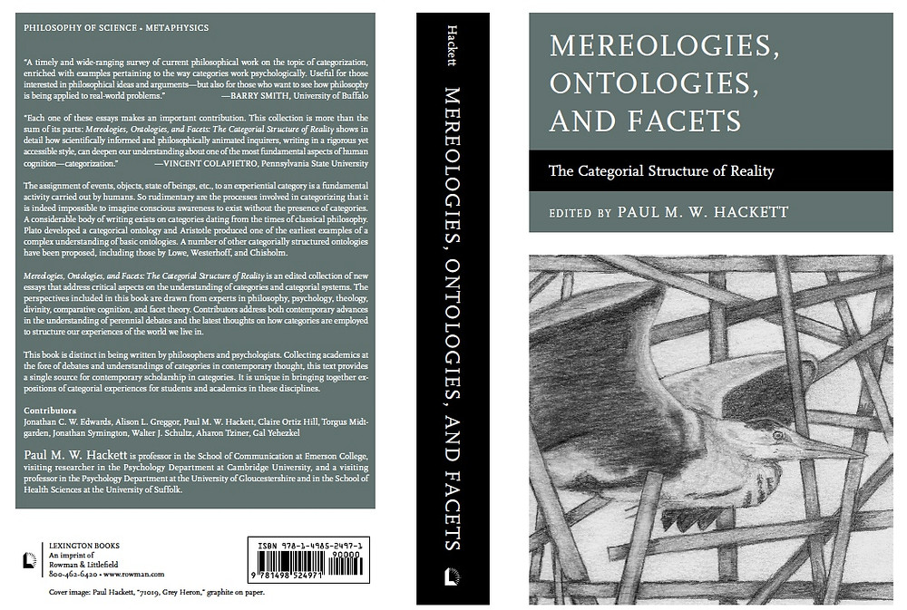 I am really pleased with my new book that should be out on July 18th this year. It includes scholarship that came out of my association with the Philosophy Department at Oxford University and the Psychology Department at Cambridge. It also brings together my thoughts on the philosophy of facet theory and the use of this approach in avian research. I am also very pleased with the cover, which incorporates a piece of work that I drew specifically for the cover.