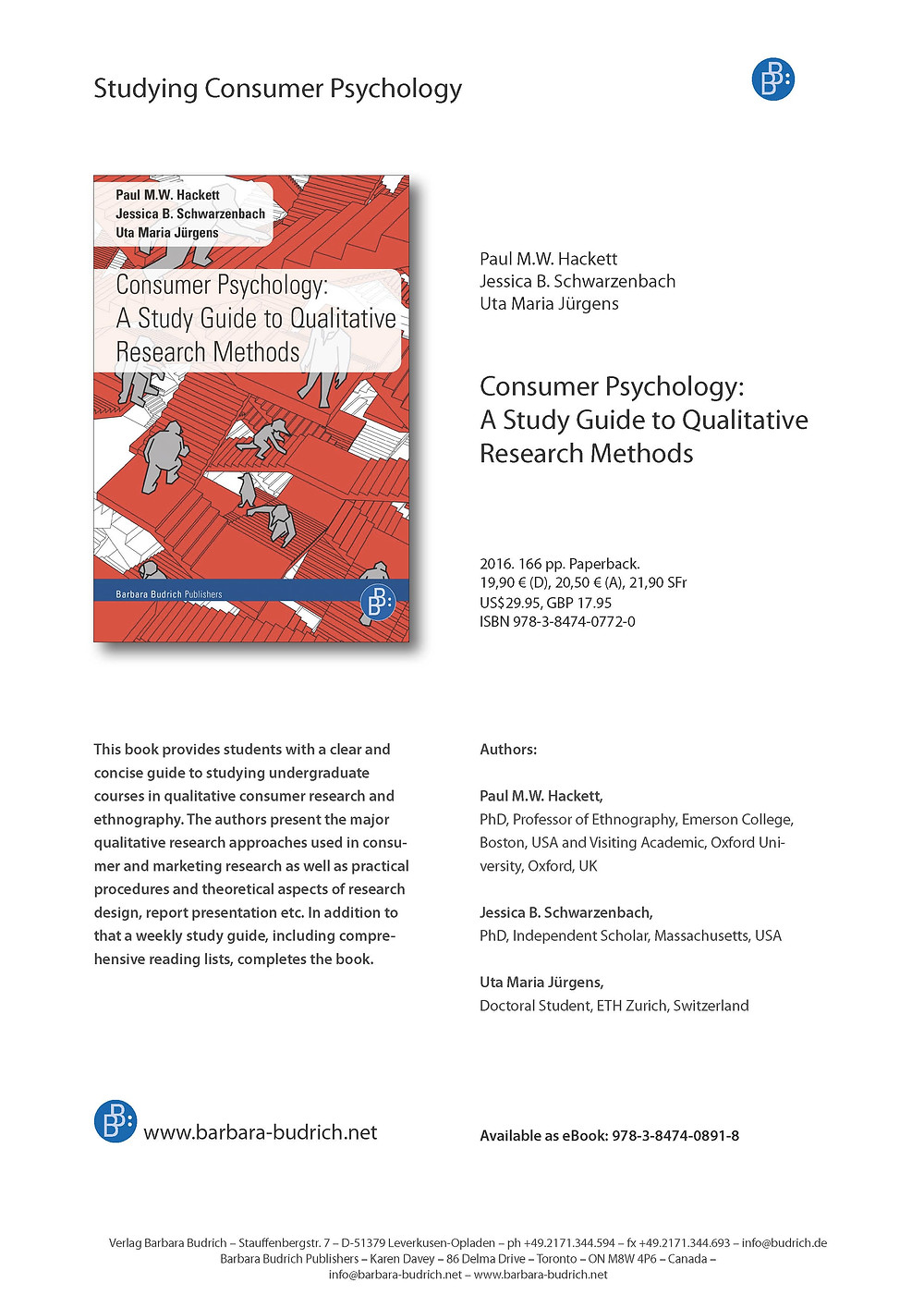 The textbook is a guide to studying consumer psychology in terms of the qualitative approaches typically sued to reveal understanding. We have produced a book that is short and inexpensive for students to purchase. Sections of the book introduce students to theoretical aspects of research procedures and then take them through the applied usage of each approach. There are many references provided for each approach. A sample syllabus is provided as is the use of the mapping sentence to plan and coordinate complex research projects. This study guide links with my edited collection: Qualitative Research Methods in Consumer Psychology: Ethnography and Culture which provides in depth explorations of the area covered in the study guide.