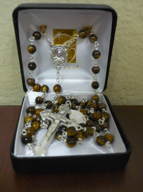 Tiger's Eye Stone Rosary with Sacred Heart Center