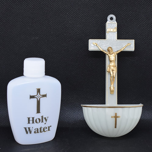 Plastic Luminous Crucifix Font and Holy Water Bottle