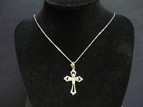 Silver Tone Filigree Cross
