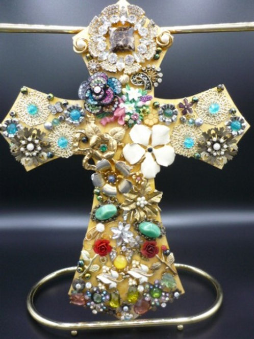 "11"" Light Wood Cross covered with Vintage Jewelry & Beads"