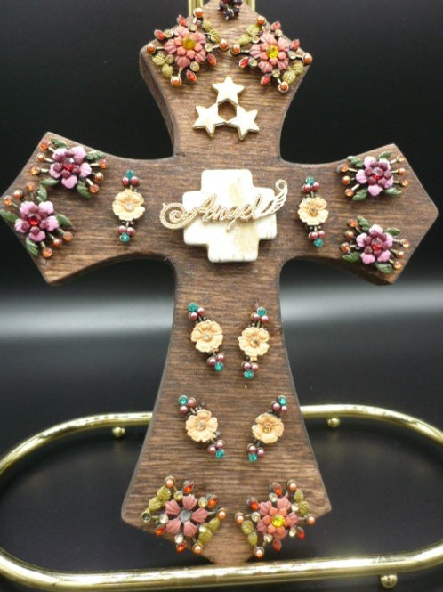 "8"" Dark Wood Cross with Vintage Flower & Star Charms."