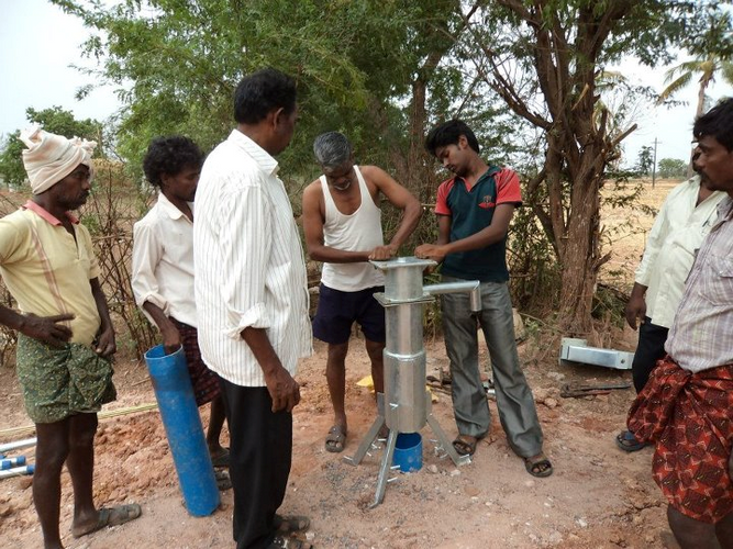 The new pump is being installed for use from the local community, free from conatmination.