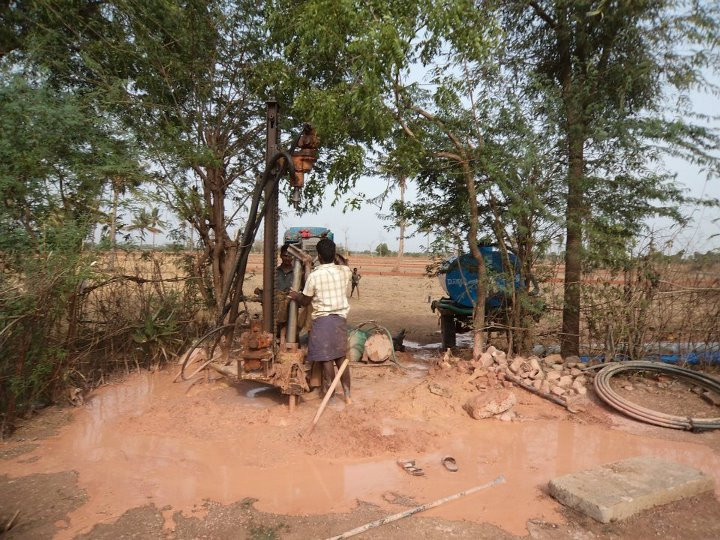 Hope RIsing for India is working on providing clean water for remote areas without access. Here the work crew prepares a site for a new well.
