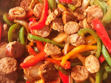 Sausage, Peppers & Onions over Rice