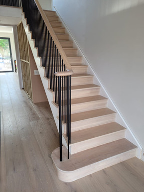 Cut String Stairs with Metal Spindles