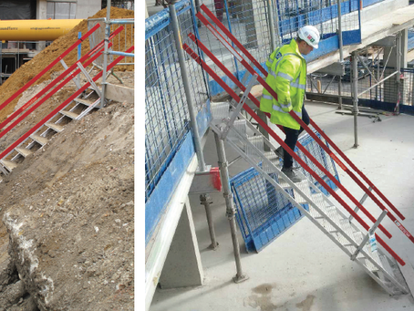 Why should you use temporary stairs on construction sites?