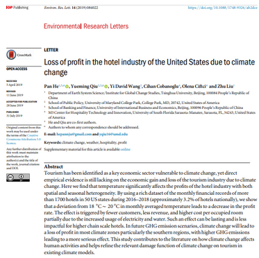 Global warming is found to have a negative effect on hotel profits!
