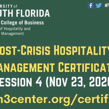 """Cobanoglu delivered """"Hospitality Technology"""" session in the Post-Crisis Certificate Program"""