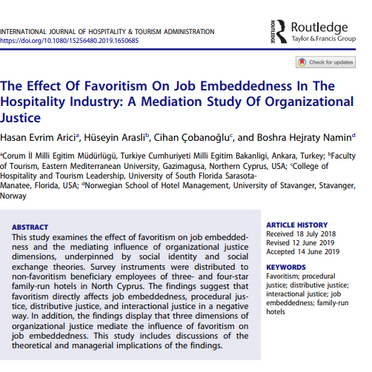 Favoritism directly affects job embeddedness, procedural, distributive and interactional justice!