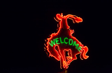 Neon Welcome Cowboy Sign