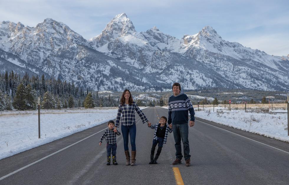 Family portrait in Grand Teton National Park