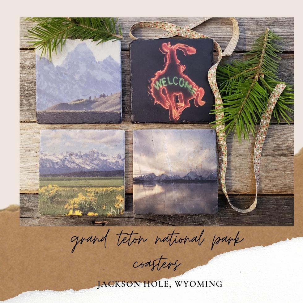 Grand Teton National Park Marble Coaster Set