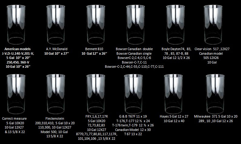 Visible gas pump cylinder sizes