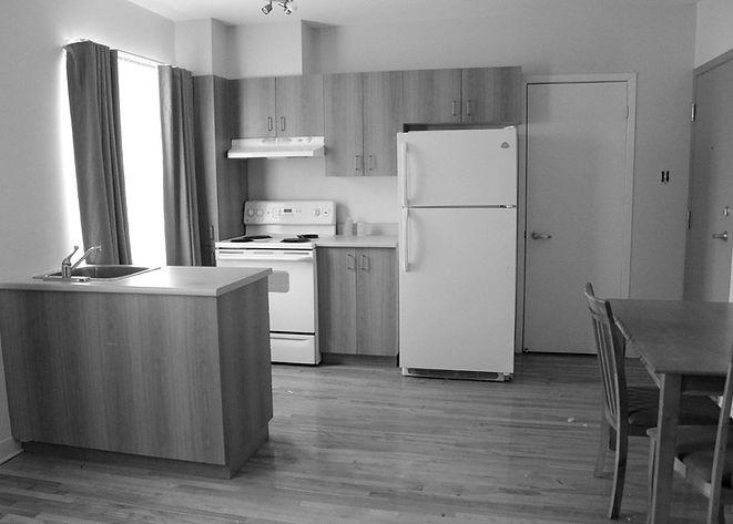 studiomeublé avec frigo, chaise, table, comptoir