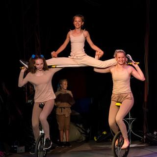 Cirkus enhjuling och akrobatik