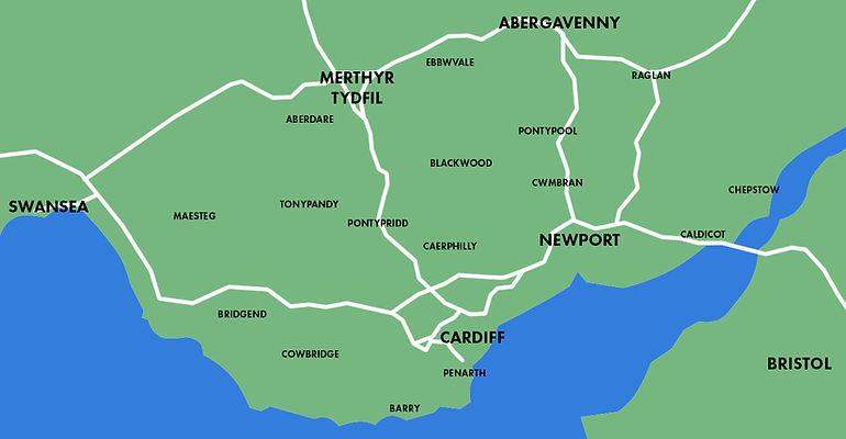 Cardiff Bridgend Newport Swansea Merthyr Tydfil Abergavenny Bristol Bridgend Aberdare Pontypridd Pontypool Cwmbran Chepstow Penarth Barry