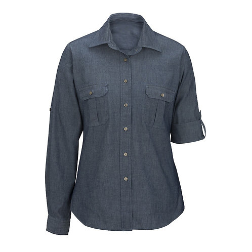 Ladies' Chambray Roll-Up Sleeve Shirt