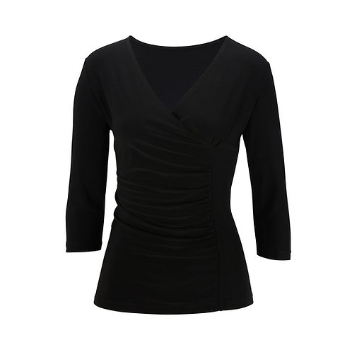 Ladies' 3/4 Sleeve Crossover Knit Top