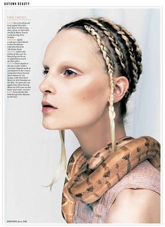 Evening Standard modelling beauty shoot featuring snakes from Tom's Talking Reptiles