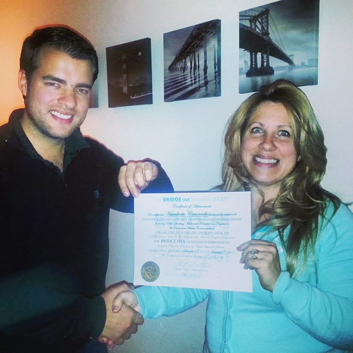Humberto from Colombia getting his Certificate in Executive English