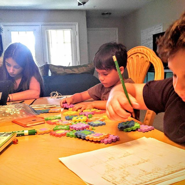 Rosa learning #algebra, Desi learning his #ABCs, and Ethan learning #Spelling, #Penmanship, #Reading