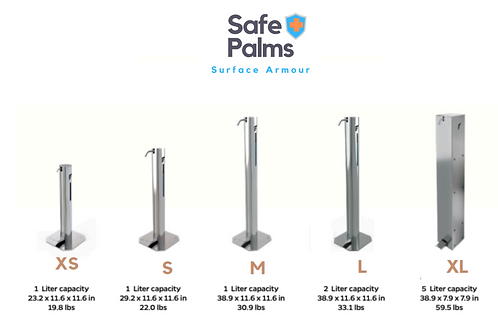 Stainless Steel Dispensers for Safe Palm 24hr Sanitizer