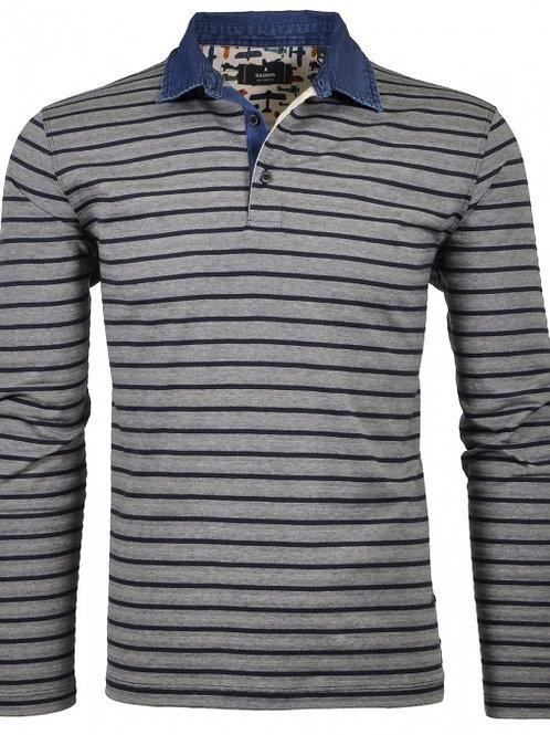 Ragman Streifen-Poloshirt mit Denim-Kragen