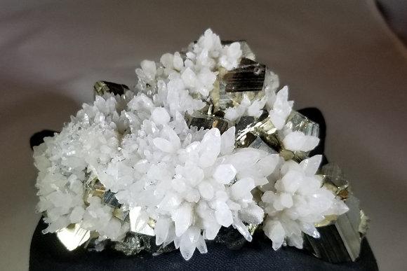 Pyrite with Quartz Flowers (Peru) PQF400