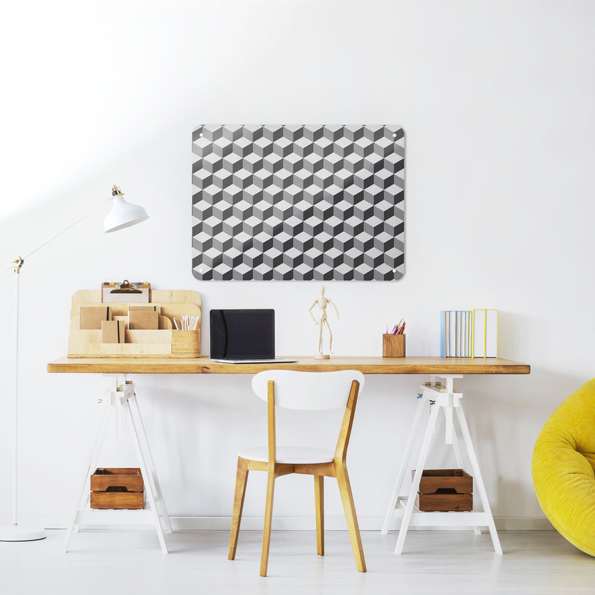 Medium sized magnetic board with blocks design in a workspace setting