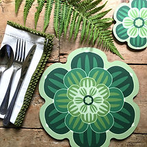 A rustic table setting with a succulent design table mat and coaster in bright green