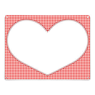 gingham heart dry wipe magnetic board