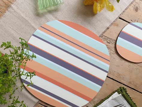 It's time to reveal our stripes - a new placemat and coaster design collection