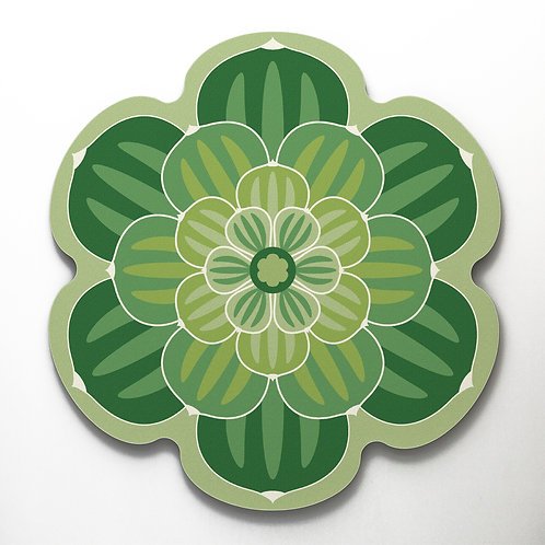 Flower shaped cork backed placemat with a succulent design in bright green colour way