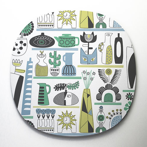 Shelf Life design cork backed placemat in blue and yellow colours