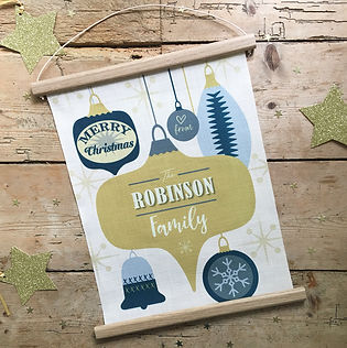 Christmas Baubles design fabri wall hanging to personalise