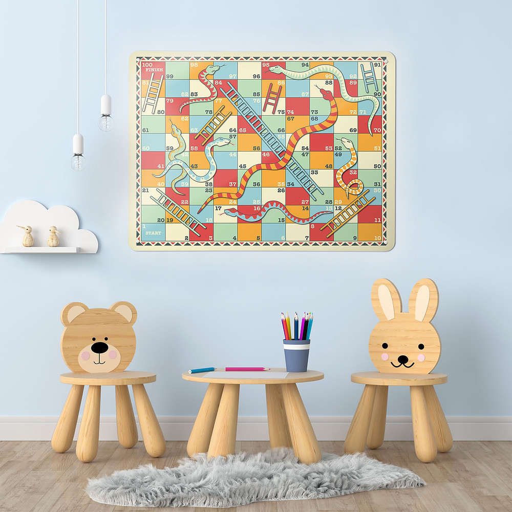 Snakes and Ladders Magnetic Notice Board with vintage game design