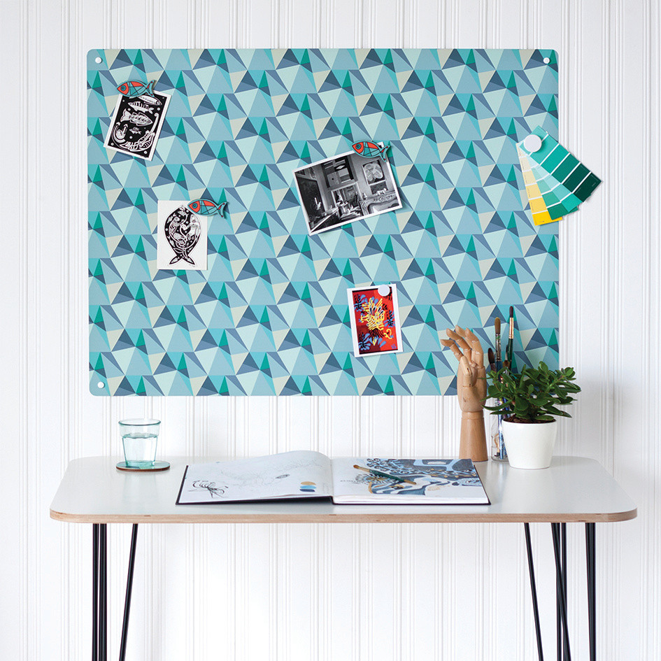 Shards magnetic notice board by Beyond the Fridge in Ocean colour way