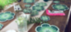 succulent placemats and coasters on an a