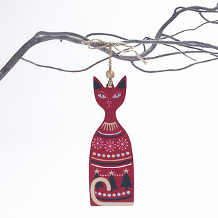 Christmas Cat Tree Decoration in red